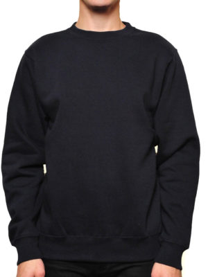 Black Midweight Crewneck Wholesale Sweatshirt